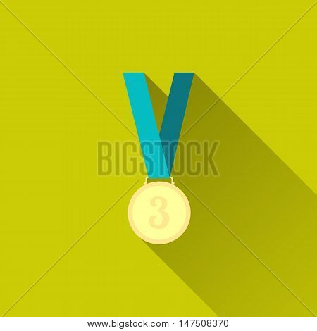 Bronze medal winner, third place. Sport icon. Flat minimalism design style with long shadow, modern color. Vector illustration - 10 EPS, for your design, websites or applications.