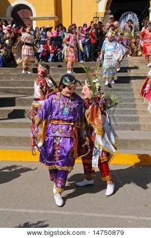 "PERU, CAJABAMBA - SEPTEMBER 6: Peruvian folklore dance ""Los Diablos"" recently declared national cultural treasure of Peru, in Cajabamba, on September 6, 2009"