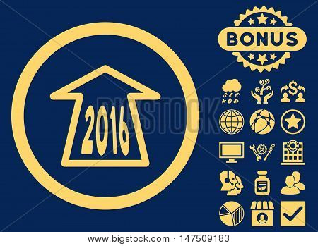 2016 Ahead Arrow icon with bonus images. Vector illustration style is flat iconic symbols, yellow color, blue background.
