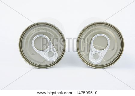 pop-top lid cans on white background Packaging cans Tin can easy open ends for beverage and food packaging Tin containers chemicals.