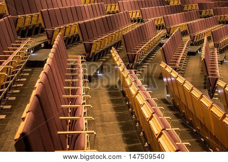 Rows of chairs in aula at the university