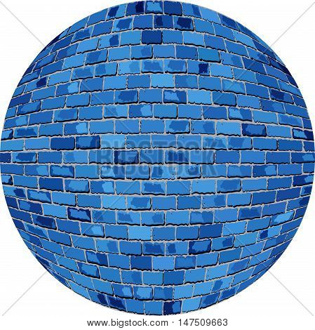Blue brick ball - Illustration,  Azure Sphere in brick style,  Abstract grunge blue brick in circle
