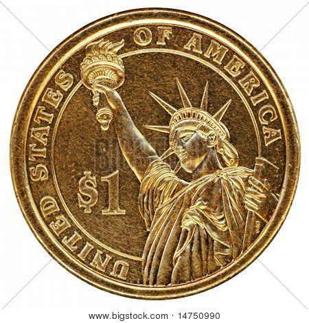 Moneda de Estados Unidos un dólar aislada sobre fondo blanco