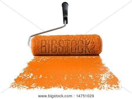 Paint roller With orange paint isolated over white background