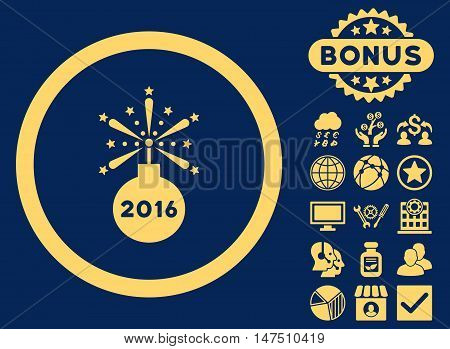 2016 Fireworks Detonator icon with bonus pictogram. Vector illustration style is flat iconic symbols, yellow color, blue background.