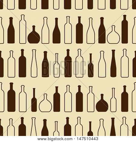 Wine bottles outline pattern. Bottles silhouette. Different kinds of wine. Design elements for banners wine markets alcohol advertising bars and vineyards. Wine seamless pattern