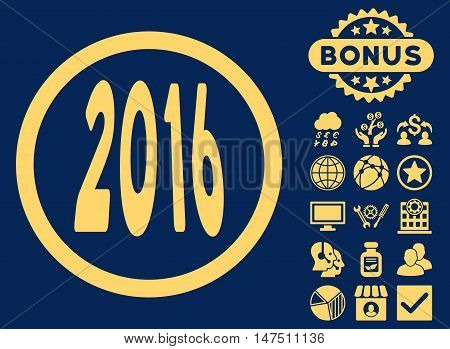 2016 Perspective icon with bonus images. Vector illustration style is flat iconic symbols, yellow color, blue background.