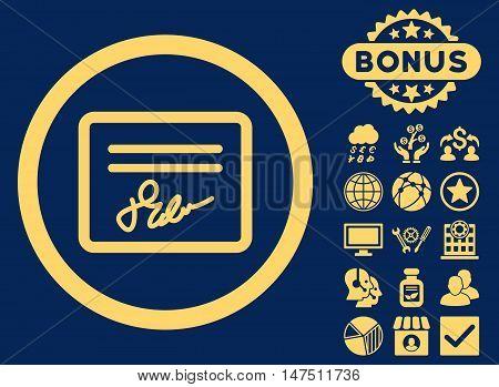 Agreement icon with bonus symbols. Vector illustration style is flat iconic symbols, yellow color, blue background.