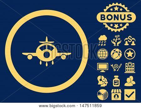 Aircraft icon with bonus symbols. Vector illustration style is flat iconic symbols, yellow color, blue background.