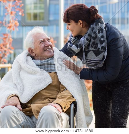 Elderly Man And His Daughter