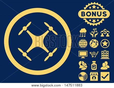 Airdrone icon with bonus pictogram. Vector illustration style is flat iconic symbols, yellow color, blue background.