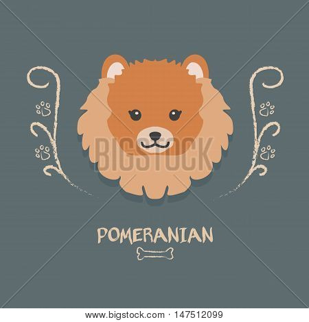 Funny pomeranian vector illustration. Cute cartoon portrait of a dog for decoration and design
