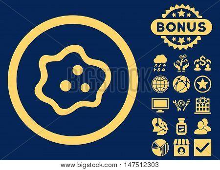 Amoeba icon with bonus images. Vector illustration style is flat iconic symbols, yellow color, blue background.