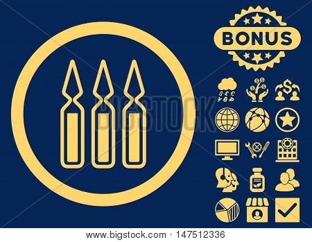 Ampoules icon with bonus elements. Vector illustration style is flat iconic symbols, yellow color, blue background.