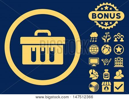 Analysis Box icon with bonus images. Vector illustration style is flat iconic symbols, yellow color, blue background.