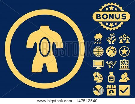 Anatomy icon with bonus pictures. Vector illustration style is flat iconic symbols, yellow color, blue background.
