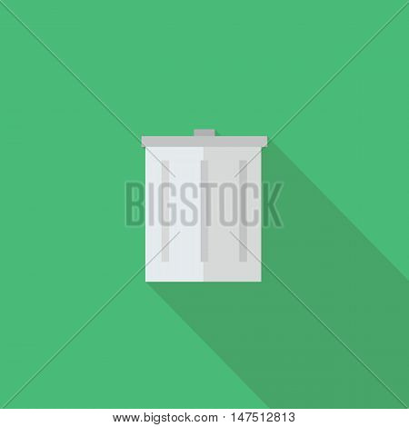 Bin icon Flat design style vector illustration. long shadow icon.