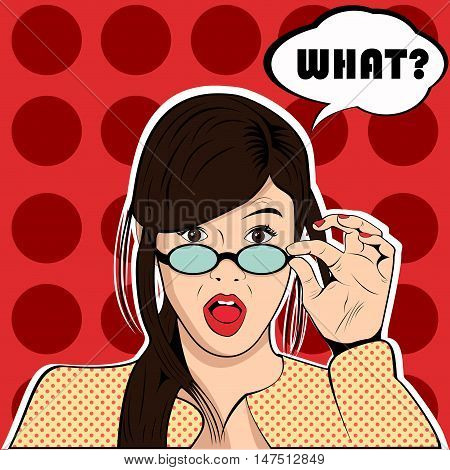 What surprised shocked woman pop art retro style
