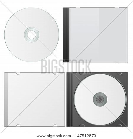 Blank Case and Disk. Cd Packaging Template. Vector Illustration.