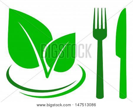 Green Sign With Leaf And Cutlery