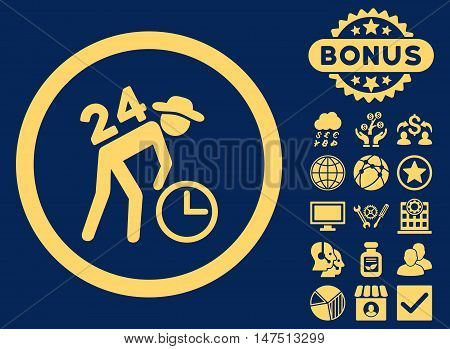 Around the Clock Work icon with bonus symbols. Vector illustration style is flat iconic symbols, yellow color, blue background.