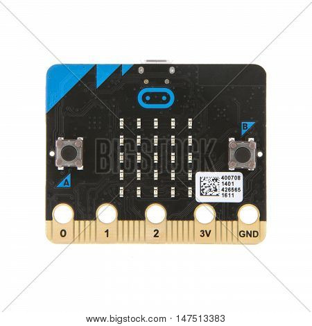 SWINDON UK - SEPTEMBER 10 2016: BBC Micro Bit The micro:bit is a handheld fully programmable computer being given free to every Year 7 or equivalent child across the UK