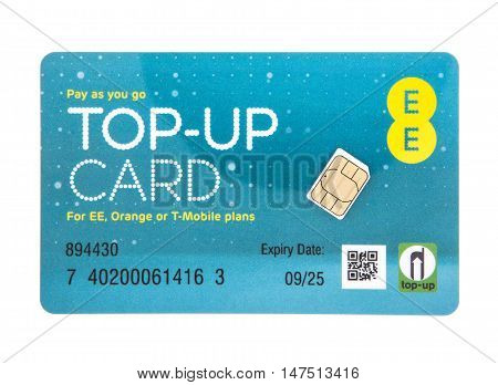 SWINDON UK - SEPTEMBER 10 2016: EE Pay as you go top-up card with SIM for EE Orange or T-Mobile Services