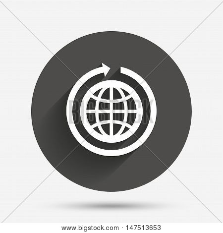 Globe sign icon. Round the world arrow symbol. Full rotation. Circle flat button with shadow. Vector