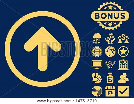 Arrow Up icon with bonus pictures. Vector illustration style is flat iconic symbols, yellow color, blue background.