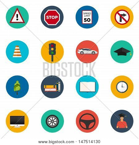 Driving school set flat icon. Auto. Auto Education. The rules of the road.
