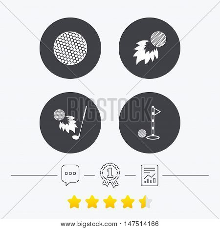 Golf ball icons. Fireball with club sign. Luxury sport symbol. Chat, award medal and report linear icons. Star vote ranking. Vector