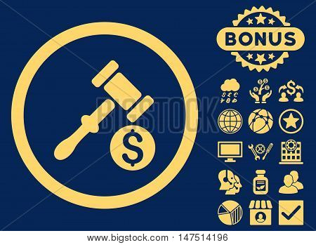 Auction icon with bonus design elements. Vector illustration style is flat iconic symbols, yellow color, blue background.