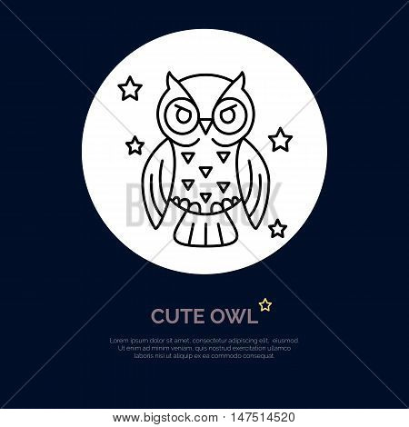 Cute owl illustration. Modern vector line icon of night bird. Funny owl linear logo. Outline symbol for sleep problem chronotype. Design element for site brochures books. Owl coloring.