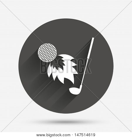 Golf fireball with club sign icon. Sport symbol. Circle flat button with shadow. Vector