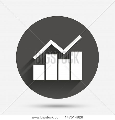 Graph chart sign icon. Diagram symbol. Statistics. Circle flat button with shadow. Vector