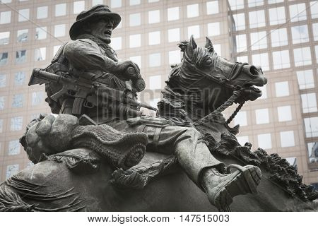 NEW YORK - SEPT 9 2016: America's Response Monument dedicated to the US Special Forces, now in Liberty Park on the weekend of the 15th anniversary of the terrorist attacks for which it was inspired.