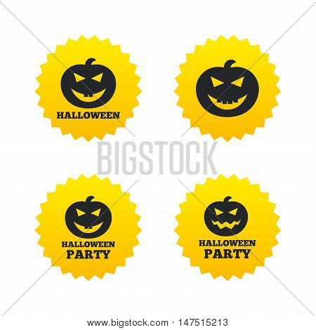 Halloween pumpkin icons. Halloween party sign symbol. All Hallows Day celebration. Yellow stars labels with flat icons. Vector