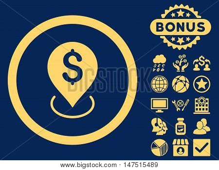 Bank Placement icon with bonus pictogram. Vector illustration style is flat iconic symbols, yellow color, blue background.