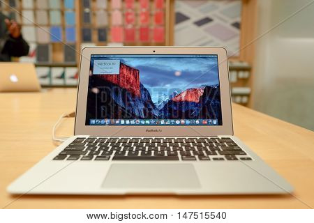 CHICAGO, IL - MARCH 24, 2016: close up shot of MacBook Air inside of Apple store. Apple Store is a chain of retail stores owned by Apple Inc., dealing with computers and consumer electronics.