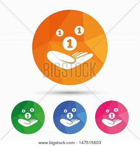 Donation hand sign icon. Hand holds coins. Charity or endowment symbol. Human helping hand palm. Triangular low poly button with flat icon. Vector
