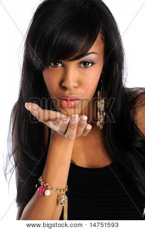 Beautiful African American woman blowing kisses