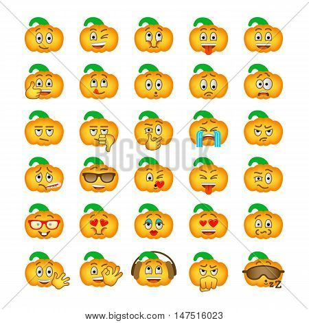 Halloween pumpkin emoji emoticons. Smiley face holiday symbol flat vector icons. Different facial emotions and expressions. Cute cartoon character mood and reactions for text chat and web messenger