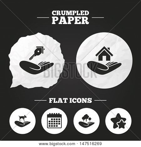 Crumpled paper speech bubble. Helping hands icons. Shelter for dogs symbol. Home house or real estate and key signs. Save nature forest. Paper button. Vector