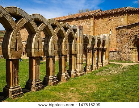 Ruined Cloister Of San Juan De Duero Monastery In Soria, Castilla Y Leon, Spain