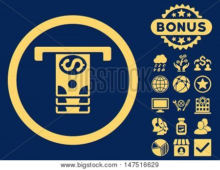 Banknotes Withdraw icon with bonus images. Vector illustration style is flat iconic symbols, yellow color, blue background.