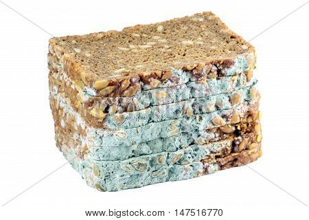 Mouldy sliced wholemeal bread with sunflower seeds. Isolated on white. No additional sharpening.