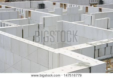 Construction site Basement. Foundation walls of a new apartment house Germany 2010