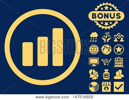 Bar Chart Increase icon with bonus design elements. Vector illustration style is flat iconic symbols, yellow color, blue background.