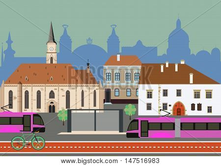 Urban public transportation with trams and a bicycle lane vector illustration