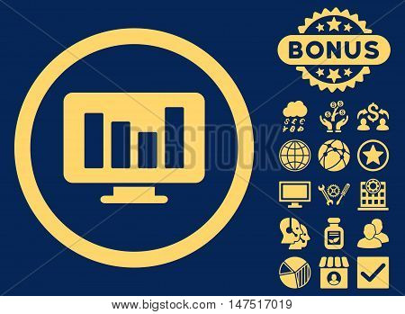 Bar Chart Monitoring icon with bonus symbols. Vector illustration style is flat iconic symbols, yellow color, blue background.